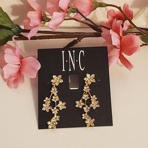 INC Crystal Floral Dangle Earrings
